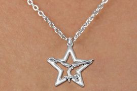 <bR>               EXCLUSIVELY OURS!!<BR>         AN ALLAN ROBIN DESIGN!!<BR>CLICK HERE TO SEE 600+ EXCITING<BR>   CHANGES THAT YOU CAN MAKE!<BR>      CADMIUM,  LEAD & NICKEL FREE!! <BR>W1308SN -  SILVER TONE GYMNAST POSED <Br>IN STAR CHARM  & CHILDS NECKLACE <BR>      FROM $4.50 TO $8.35 �2012
