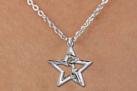 <bR>               EXCLUSIVELY OURS!!<BR>         AN ALLAN ROBIN DESIGN!!<BR>CLICK HERE TO SEE 600+ EXCITING<BR>   CHANGES THAT YOU CAN MAKE!<BR>      CADMIUM,  LEAD & NICKEL FREE!! <BR>W1309SN -  SILVER TONE GYMNAST POSED <Br>IN STAR CHARM  & CHILDS NECKLACE <BR>      FROM $4.50 TO $8.35 �2012