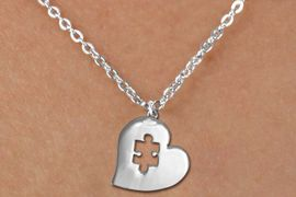 <bR>               EXCLUSIVELY OURS!!<BR>         AN ALLAN ROBIN DESIGN!!<BR>CLICK HERE TO SEE 600+ EXCITING<BR>   CHANGES THAT YOU CAN MAKE!<BR>      CADMIUM,  LEAD & NICKEL FREE!! <BR>W295SN -  POLISHED SILVER TONE HEART <Br> AUTUSM PUZZLE CHARM  & CHILDS NECKLACE <BR>      FROM $4.50 TO $8.35 �2012
