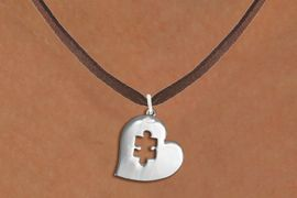 <bR>               EXCLUSIVELY OURS!!<BR>         AN ALLAN ROBIN DESIGN!!<BR>CLICK HERE TO SEE 600+ EXCITING<BR>   CHANGES THAT YOU CAN MAKE!<BR>      CADMIUM,  LEAD & NICKEL FREE!! <BR>W295SN -  POLISHED SILVER TONE HEART <Br> AUTUSM PUZZLE CHARM  & NECKLACE <BR>      FROM $4.50 TO $8.35 �2012