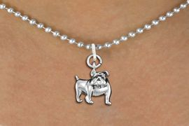 <bR>               EXCLUSIVELY OURS!!<BR>         AN ALLAN ROBIN DESIGN!!<BR>CLICK HERE TO SEE 600+ EXCITING<BR>   CHANGES THAT YOU CAN MAKE!<BR>      CADMIUM,  LEAD & NICKEL FREE!! <BR>W298SN -  POLISHED SILVER TONE <Br>BULLDOG CHARM  & NECKLACE <BR>      FROM $4.50 TO $8.35 �2012