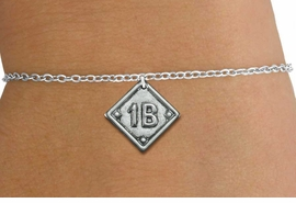 "<bR>                    EXCLUSIVELY OURS!!<BR>              AN ALLAN ROBIN DESIGN!!<BR>     CLICK HERE TO SEE 600+ EXCITING<BR>        CHANGES THAT YOU CAN MAKE!<BR>       LEAD, NICKEL & CADMIUM FREE!! <BR>PLAYERS POSITION AND TEAM NUMBER  <BR>    W1254SB -  ""BASEBALL DIAMOND"" <Br>SILVER TONE CHARM & CHILDS BRACELET <BR>           FROM $3.60 TO $8.00 �2012"