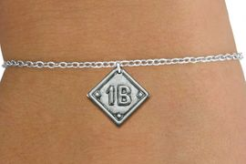 """<bR>                    EXCLUSIVELY OURS!!<BR>              AN ALLAN ROBIN DESIGN!!<BR>     CLICK HERE TO SEE 600+ EXCITING<BR>        CHANGES THAT YOU CAN MAKE!<BR>       LEAD, NICKEL & CADMIUM FREE!! <BR>PLAYERS POSITION AND TEAM NUMBER  <BR>    W1254SB -  """"BASEBALL DIAMOND"""" <Br>SILVER TONE CHARM & CHILDS BRACELET <BR>           FROM $3.60 TO $8.00 �2012"""