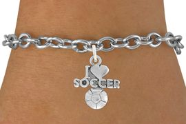 """<bR>               EXCLUSIVELY OURS!!<BR>         AN ALLAN ROBIN DESIGN!!<BR>CLICK HERE TO SEE 600+ EXCITING<BR>   CHANGES THAT YOU CAN MAKE!<BR>  LEAD, NICKEL & CADMIUM FREE!!<BR>         W1020SB - """"I LOVE SOCCER"""" <Br>   & BRACELET FROM $4.15 TO $8.00 �2011"""