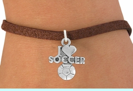 """<bR>               EXCLUSIVELY OURS!!<BR>         AN ALLAN ROBIN DESIGN!!<BR>CLICK HERE TO SEE 600+ EXCITING<BR>   CHANGES THAT YOU CAN MAKE!<BR>  LEAD, NICKEL & CADMIUM FREE!!<BR>         W1020SB - """"I LOVE SOCCER"""" <Br>   & BRACELET FROM $4.15 TO $8.00"""