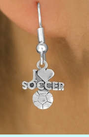 """<bR>               EXCLUSIVELY OURS!!<BR>         AN ALLAN ROBIN DESIGN!!<BR>CLICK HERE TO SEE 600+ EXCITING<BR>   CHANGES THAT YOU CAN MAKE!<BR>  LEAD, NICKEL & CADMIUM FREE!!<BR>         W1020SE - """"I LOVE SOCCER""""<Br>  EARRINGS FROM $4.50 TO $8.35"""