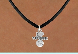 """<bR>               EXCLUSIVELY OURS!!<BR>         AN ALLAN ROBIN DESIGN!!<BR>CLICK HERE TO SEE 600+ EXCITING<BR>   CHANGES THAT YOU CAN MAKE!<BR>  LEAD, NICKEL & CADMIUM FREE!!<BR>         W1020SN - """"I LOVE SOCCER""""<Br>  NECKLACE FROM $4.50 TO $8.35"""