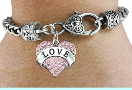 """<bR>                     EXCLUSIVELY OURS!!<BR>               AN ALLAN ROBIN DESIGN!!<BR>      CLICK HERE TO SEE 600+ EXCITING<BR>         CHANGES THAT YOU CAN MAKE!<BR>        LEAD, NICKEL & CADMIUM FREE!!<BR>      W1137SB - ROSE CRYSTAL """"LOVE"""" <BR>HEART CHARM  & HEART CLASP BRACELET <BR>         FROM $5.63 TO $12.50 �2012"""