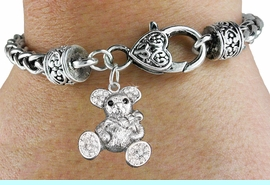 <bR>                             EXCLUSIVELY OURS!!<BR>                       AN ALLAN ROBIN DESIGN!!<BR>              CLICK HERE TO SEE 600+ EXCITING<BR>                 CHANGES THAT YOU CAN MAKE!<BR>                LEAD, NICKEL & CADMIUM FREE!!<BR>W1189SB - CRYSTAL TEDDY BEAR CHARM  <Br>& HEART CLASP BRACELET FROM $5.63 TO $12.50 �2012