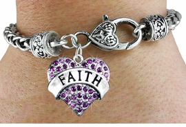 "<bR>                   EXCLUSIVELY OURS!!<BR>             AN ALLAN ROBIN DESIGN!!<BR>    CLICK HERE TO SEE 600+ EXCITING<BR>       CHANGES THAT YOU CAN MAKE!<BR>       LEAD,  NICKEL & CADMIUM FREE!!<BR>W1212SB - PURPLE CRYSTAL ""FAITH"" <BR> HEART CHARM  & HEART CLASP BRACELET <BR>      FROM $5.63 TO $12.50 �2012"