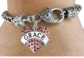 "<bR>                     EXCLUSIVELY OURS!!<BR>               AN ALLAN ROBIN DESIGN!!<BR>      CLICK HERE TO SEE 600+ EXCITING<BR>         CHANGES THAT YOU CAN MAKE!<BR>        LEAD, NICKEL & CADMIUM FREE!!<BR>     W1213SB - RED CRYSTAL ""GRACE"" <BR>HEART CHARM  &HEART CLASP BRACELET <BR>        FROM $5.63 TO $12.50 �2012"
