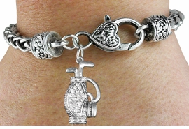 <bR>                             EXCLUSIVELY OURS!!<BR>                       AN ALLAN ROBIN DESIGN!!<BR>              CLICK HERE TO SEE 600+ EXCITING<BR>                 CHANGES THAT YOU CAN MAKE!<BR>                LEAD, NICKEL & CADMIUM FREE!!<BR>W1216SB - CRYSTAL GOLF BAG CHARM  &<Br>HEART CLASP BRACELET FROM $5.63 TO $12.50 �2012