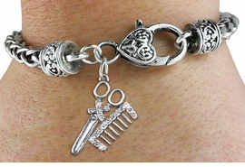 <bR>                   EXCLUSIVELY OURS!!<BR>             AN ALLAN ROBIN DESIGN!!<BR>    CLICK HERE TO SEE 600+ EXCITING<BR>       CHANGES THAT YOU CAN MAKE!<BR>       LEAD, NICKEL & CADMIUM FREE!!<BR>W1251SB - CRYSTAL SCISSORS & COMB <BR>CHARM & HEART CLASP BRACELET <BR>         FROM $5.63 TO $12.50 �2012