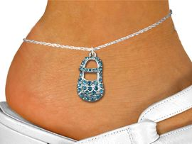 """<bR>                 EXCLUSIVELY OURS!!<BR>           AN ALLAN ROBIN DESIGN!!<BR>  CLICK HERE TO SEE 600+ EXCITING<BR>     CHANGES THAT YOU CAN MAKE!<BR>LEAD, NICKEL & CADMIUM FREE!!<BR>     W1277SAK - """"BABY BOY SHOE"""" <BR>  BLUE CRYSTAL CHARM AND ANKLET <Br>      FROM $5.40 TO $9.85 �2012"""