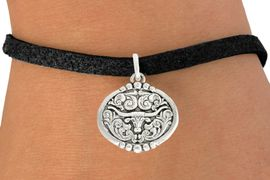 """<bR>               EXCLUSIVELY OURS!!<BR>         AN ALLAN ROBIN DESIGN!!<BR>CLICK HERE TO SEE 600+ EXCITING<BR>   CHANGES THAT YOU CAN MAKE!<BR>              LEAD & NICKEL FREE!!<BR>   W1001SB - """"LONGHORN IN OVAL"""" <Br>   & BRACELET FROM $4.15 TO $8.00"""