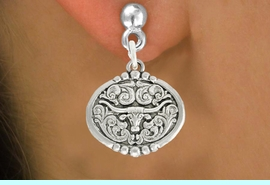 """<bR>               EXCLUSIVELY OURS!!<BR>         AN ALLAN ROBIN DESIGN!!<BR>CLICK HERE TO SEE 600+ EXCITING<BR>   CHANGES THAT YOU CAN MAKE!<BR>              LEAD & NICKEL FREE!!<BR>  W1001SE - """"LONGHORN IN OVAL""""<Br>  EARRINGS FROM $4.50 TO $8.35"""