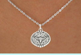 """<bR>               EXCLUSIVELY OURS!!<BR>         AN ALLAN ROBIN DESIGN!!<BR>CLICK HERE TO SEE 600+ EXCITING<BR>   CHANGES THAT YOU CAN MAKE!<BR>              LEAD & NICKEL FREE!!<BR>  W1001SN - """"LONGHORN IN OVAL""""<Br>  NECKLACE FROM $4.50 TO $8.35"""