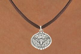 "<bR>               EXCLUSIVELY OURS!!<BR>         AN ALLAN ROBIN DESIGN!!<BR>CLICK HERE TO SEE 600+ EXCITING<BR>   CHANGES THAT YOU CAN MAKE!<BR>              LEAD & NICKEL FREE!!<BR>  W1001SN - ""LONGHORN IN OVAL""<Br>  NECKLACE FROM $4.50 TO $8.35"