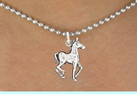 """<bR>               EXCLUSIVELY OURS!!<BR>         AN ALLAN ROBIN DESIGN!!<BR>CLICK HERE TO SEE 600+ EXCITING<BR>   CHANGES THAT YOU CAN MAKE!<BR>              LEAD & NICKEL FREE!!<BR>     W1002SN - """"TROTTING HORSE""""<Br>  NECKLACE FROM $4.50 TO $8.35"""