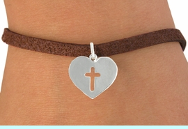 """<bR>               EXCLUSIVELY OURS!!<BR>         AN ALLAN ROBIN DESIGN!!<BR>CLICK HERE TO SEE 600+ EXCITING<BR>   CHANGES THAT YOU CAN MAKE!<BR>              LEAD & NICKEL FREE!!<BR>W1004SB - """"HEART WITH CENTER CROSS"""" <Br>   & BRACELET FROM $4.15 TO $8.00"""