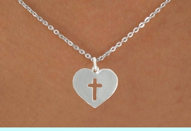"""<bR>               EXCLUSIVELY OURS!!<BR>         AN ALLAN ROBIN DESIGN!!<BR>CLICK HERE TO SEE 600+ EXCITING<BR>   CHANGES THAT YOU CAN MAKE!<BR>              LEAD & NICKEL FREE!!<BR>W1004SN - """"HEART WITH CENTER CROSS""""<Br>  NECKLACE FROM $4.50 TO $8.35"""