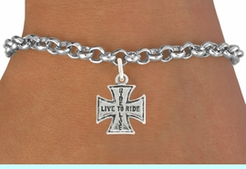 """<bR>               EXCLUSIVELY OURS!!<BR>         AN ALLAN ROBIN DESIGN!!<BR>CLICK HERE TO SEE 600+ EXCITING<BR>   CHANGES THAT YOU CAN MAKE!<BR>              LEAD & NICKEL FREE!!<BR>W1006SB - """"LIVE TO RIDE, RIDE TO LIVE"""" <Br>   & BRACELET FROM $4.15 TO $8.00"""