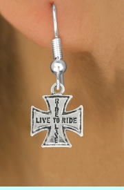 """<bR>               EXCLUSIVELY OURS!!<BR>         AN ALLAN ROBIN DESIGN!!<BR>CLICK HERE TO SEE 600+ EXCITING<BR>   CHANGES THAT YOU CAN MAKE!<BR>              LEAD & NICKEL FREE!!<BR>W1006SE - """"LIVE TO RIDE, RIDE TO LIVE""""<Br>  EARRINGS FROM $4.50 TO $8.35"""