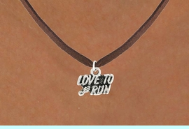 """<bR>               EXCLUSIVELY OURS!!<BR>         AN ALLAN ROBIN DESIGN!!<BR>CLICK HERE TO SEE 600+ EXCITING<BR>   CHANGES THAT YOU CAN MAKE!<BR>              LEAD & NICKEL FREE!!<BR>        W1008SN - """"LOVE TO RUN""""<Br>  NECKLACE FROM $4.50 TO $8.35"""