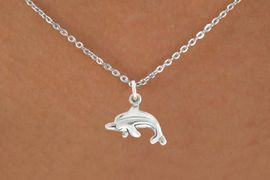 """<bR>               EXCLUSIVELY OURS!!<BR>         AN ALLAN ROBIN DESIGN!!<BR>CLICK HERE TO SEE 600+ EXCITING<BR>   CHANGES THAT YOU CAN MAKE!<BR>              LEAD & NICKEL FREE!!<BR>         W1010SN - """"DOLPHIN""""<Br>  NECKLACE FROM $4.50 TO $8.35"""