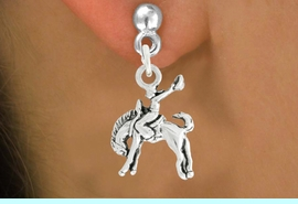 """<bR>               EXCLUSIVELY OURS!!<BR>         AN ALLAN ROBIN DESIGN!!<BR>CLICK HERE TO SEE 600+ EXCITING<BR>   CHANGES THAT YOU CAN MAKE!<BR>              LEAD & NICKEL FREE!!<BR>     W1014SE - """"BRONCO BUSTER""""<Br>  EARRINGS FROM $4.50 TO $8.35"""