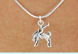 """<bR>               EXCLUSIVELY OURS!!<BR>         AN ALLAN ROBIN DESIGN!!<BR>CLICK HERE TO SEE 600+ EXCITING<BR>   CHANGES THAT YOU CAN MAKE!<BR>              LEAD & NICKEL FREE!!<BR>     W1014SN - """"BRONCO BUSTER""""<Br>  NECKLACE FROM $4.50 TO $8.35"""