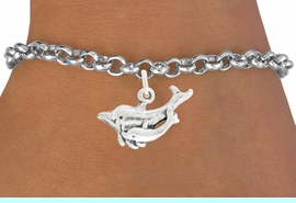 """<bR>               EXCLUSIVELY OURS!!<BR>         AN ALLAN ROBIN DESIGN!!<BR>CLICK HERE TO SEE 600+ EXCITING<BR>   CHANGES THAT YOU CAN MAKE!<BR>              LEAD & NICKEL FREE!!<BR>    W1015SB - """"DOLPHIN AND CALF"""" <Br>   & BRACELET FROM $4.15 TO $8.00"""