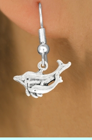 """<bR>               EXCLUSIVELY OURS!!<BR>         AN ALLAN ROBIN DESIGN!!<BR>CLICK HERE TO SEE 600+ EXCITING<BR>   CHANGES THAT YOU CAN MAKE!<BR>              LEAD & NICKEL FREE!!<BR>   W1015SE - """"DOLPHIN AND CALF""""<Br>  EARRINGS FROM $4.50 TO $8.35"""