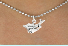"""<bR>               EXCLUSIVELY OURS!!<BR>         AN ALLAN ROBIN DESIGN!!<BR>CLICK HERE TO SEE 600+ EXCITING<BR>   CHANGES THAT YOU CAN MAKE!<BR>              LEAD & NICKEL FREE!!<BR>  W1015SN - """"DOLPHIN AND CALF""""<Br>  NECKLACE FROM $4.50 TO $8.35"""