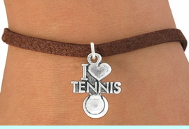 """<bR>               EXCLUSIVELY OURS!!<BR>         AN ALLAN ROBIN DESIGN!!<BR>CLICK HERE TO SEE 600+ EXCITING<BR>   CHANGES THAT YOU CAN MAKE!<BR>              LEAD & NICKEL FREE!!<BR>         W1019SB - """"I LOVE TENNNIS"""" <Br>   & BRACELET FROM $4.15 TO $8.00"""