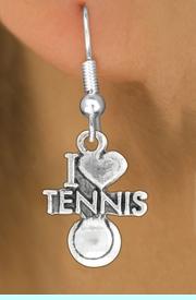"""<bR>               EXCLUSIVELY OURS!!<BR>         AN ALLAN ROBIN DESIGN!!<BR>CLICK HERE TO SEE 600+ EXCITING<BR>   CHANGES THAT YOU CAN MAKE!<BR>              LEAD & NICKEL FREE!!<BR>         W1019SE - """"I LOVE TENNIS""""<Br>  EARRINGS FROM $4.50 TO $8.35"""