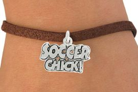 """<bR>               EXCLUSIVELY OURS!!<BR>         AN ALLAN ROBIN DESIGN!!<BR>CLICK HERE TO SEE 600+ EXCITING<BR>   CHANGES THAT YOU CAN MAKE!<BR>              LEAD & NICKEL FREE!!<BR>      W1022SB - """"SOCCER CHICK"""" <Br>   & BRACELET FROM $4.15 TO $8.00"""