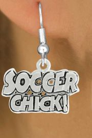 """<bR>               EXCLUSIVELY OURS!!<BR>         AN ALLAN ROBIN DESIGN!!<BR>CLICK HERE TO SEE 600+ EXCITING<BR>   CHANGES THAT YOU CAN MAKE!<BR>              LEAD & NICKEL FREE!!<BR>       W1022SE - """"SOCCER CHICK""""<Br>  EARRINGS FROM $4.50 TO $8.35"""