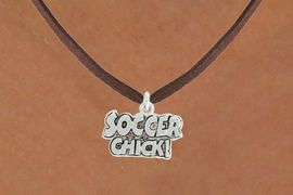 """<bR>               EXCLUSIVELY OURS!!<BR>         AN ALLAN ROBIN DESIGN!!<BR>CLICK HERE TO SEE 600+ EXCITING<BR>   CHANGES THAT YOU CAN MAKE!<BR>              LEAD & NICKEL FREE!!<BR>      W1022SN - """"SOCCER CHICK""""<Br>  NECKLACE FROM $4.50 TO $8.35"""