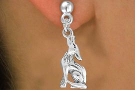 """<bR>               EXCLUSIVELY OURS!!<BR>         AN ALLAN ROBIN DESIGN!!<BR>CLICK HERE TO SEE 600+ EXCITING<BR>   CHANGES THAT YOU CAN MAKE!<BR>              LEAD & NICKEL FREE!!<BR>     W1028SE - """"COYOTE HOWLING""""<Br>  EARRINGS FROM $4.50 TO $8.35"""