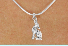 """<bR>               EXCLUSIVELY OURS!!<BR>         AN ALLAN ROBIN DESIGN!!<BR>CLICK HERE TO SEE 600+ EXCITING<BR>   CHANGES THAT YOU CAN MAKE!<BR>              LEAD & NICKEL FREE!!<BR>   W1028SN - """"COYOTE HOWLING""""<Br>  NECKLACE FROM $4.50 TO $8.35"""