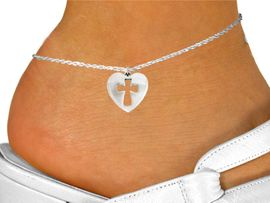 """<bR>               EXCLUSIVELY OURS!!<BR>         AN ALLAN ROBIN DESIGN!!<BR>CLICK HERE TO SEE 600+ EXCITING<BR>   CHANGES THAT YOU CAN MAKE!<BR>              LEAD & NICKEL FREE!!<BR>  W1029SAK - """"HEART WITH CROSS""""<Br>     ANKLET FROM $3.35 TO $8.00"""
