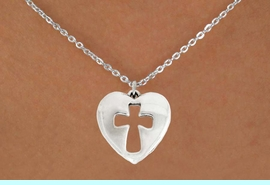 """<bR>               EXCLUSIVELY OURS!!<BR>         AN ALLAN ROBIN DESIGN!!<BR>CLICK HERE TO SEE 600+ EXCITING<BR>   CHANGES THAT YOU CAN MAKE!<BR>              LEAD & NICKEL FREE!!<BR>  W1029SN - """"HEART WITH CROSS""""<Br>  NECKLACE FROM $4.50 TO $8.35"""