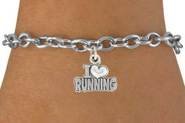 "<bR>               EXCLUSIVELY OURS!!<BR>         AN ALLAN ROBIN DESIGN!!<BR>CLICK HERE TO SEE 600+ EXCITING<BR>   CHANGES THAT YOU CAN MAKE!<BR>              LEAD & NICKEL FREE!!<BR>       W1031SB ""I LOVE RUNNING"" <Br>   & BRACELET FROM $4.15 TO $8.00"