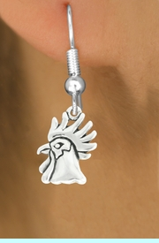 """<bR>               EXCLUSIVELY OURS!!<BR>         AN ALLAN ROBIN DESIGN!!<BR>CLICK HERE TO SEE 600+ EXCITING<BR>   CHANGES THAT YOU CAN MAKE!<BR>              LEAD & NICKEL FREE!!<BR>              W1037SE - """"ROOSTER""""<Br>  EARRINGS FROM $4.50 TO $8.35"""