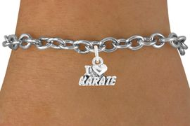 "<bR>               EXCLUSIVELY OURS!!<BR>         AN ALLAN ROBIN DESIGN!!<BR>CLICK HERE TO SEE 600+ EXCITING<BR>   CHANGES THAT YOU CAN MAKE!<BR>              LEAD & NICKEL FREE!!<BR>       W1038SB - ""I LOVE KARATE""<Br>& BRACELET FROM $4.15 TO $8.00"