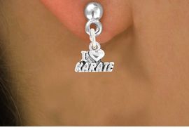 "<bR>               EXCLUSIVELY OURS!!<BR>         AN ALLAN ROBIN DESIGN!!<BR>CLICK HERE TO SEE 600+ EXCITING<BR>   CHANGES THAT YOU CAN MAKE!<BR>              LEAD & NICKEL FREE!!<BR>       W1038SE - ""I LOVE KARATE""<Br>  EARRINGS FROM $4.50 TO $8.35"