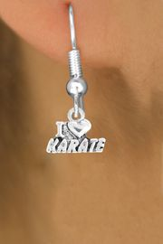"""<bR>               EXCLUSIVELY OURS!!<BR>         AN ALLAN ROBIN DESIGN!!<BR>CLICK HERE TO SEE 600+ EXCITING<BR>   CHANGES THAT YOU CAN MAKE!<BR>              LEAD & NICKEL FREE!!<BR>       W1038SE - """"I LOVE KARATE""""<Br>  EARRINGS FROM $4.50 TO $8.35"""