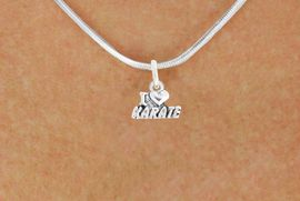 """<bR>               EXCLUSIVELY OURS!!<BR>         AN ALLAN ROBIN DESIGN!!<BR>CLICK HERE TO SEE 600+ EXCITING<BR>   CHANGES THAT YOU CAN MAKE!<BR>              LEAD & NICKEL FREE!!<BR>        W1038SN - """"I LOVE KARATE""""<Br>  NECKLACE FROM $4.50 TO $8.35"""