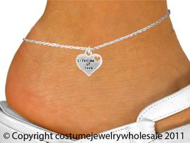 """<bR>               EXCLUSIVELY OURS!!<BR>         AN ALLAN ROBIN DESIGN!!<BR>CLICK HERE TO SEE 600+ EXCITING<BR>   CHANGES THAT YOU CAN MAKE!<BR>              LEAD & NICKEL FREE!!<BR>W1043SAK - """"LIFETIME OF LOVE""""<Br>     ANKLET FROM $3.35 TO $8.00"""